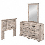 6 Drawer Dresser with Mirror and Twin Size Headboard