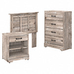 Twin Size Headboard, Chest of Drawers and Nightstand Bedroom Set