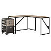 50W L Shaped Industrial Desk with 37W Return and Mobile File Cabinet
