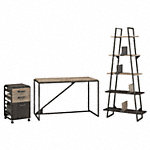 50W Industrial Desk with A Frame Bookshelf and Mobile File Cabinet