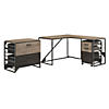 50W L Shaped Industrial Desk with 37W Return and File Cabinets