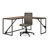 62W L Shaped Desk with Mid Back Ribbed Leather Office Chair