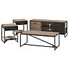 60W TV Stand with Coffee Table and Set of 2 End Tables
