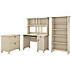 Mission Desk with Hutch, Lateral File Cabinet and 5 Shelf Bookcase