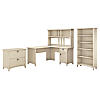60W L Shaped Desk with Hutch, File Cabinet and 5 Shelf Bookcase