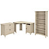 55W Corner Desk with Lateral File Cabinet and 5 Shelf Bookcase