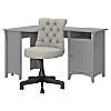 55W Corner Desk with Mid Back Tufted Office Chair