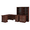 L Shaped Computer Desk, Lateral File Cabinet and Two 5 Shelf Bookcases