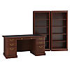 Executive Desk and Two 5 Shelf Bookcases