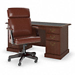 66W Executive Desk with High Back Leather Office Chair