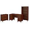 60W Desk with Lateral File Cabinet and 5 Shelf Bookcase