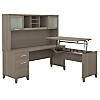 72W Sit to Stand L Shaped Desk with Hutch