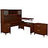 72W Sit to Stand L Shaped Desk with Hutch and File Cabinet