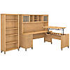 72W Sit to Stand L Shaped Desk with Hutch and Bookcase