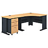 48W Corner Desk with 36W Return and Mobile File Cabinet