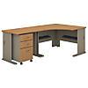 48W Corner Desk with 36W Return and Mobile File Cabinet
