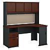 60W Corner Desk with Hutch and 2 Drawer Pedestal