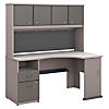60W Corner Desk with Hutch and 2 Drawer Pedestal