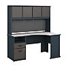 Single Pedestal Corner Desk with 60W Hutch Storage
