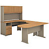 U Shaped Desk with Hutch, Peninsula and Storage