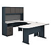 U-Workstation with Corner Desk, Bridge & Peninsula Desk