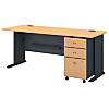 72W Desk with 3Dwr Mobile Pedestal  (Assembled)