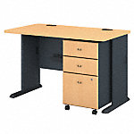 48W Desk with 3Dwr Mobile Pedestal  (Assembled)