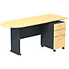 Peninsula Desk with 3 Drawer Mobile Pedestal