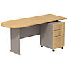 Peninsula Desk with 3 Drawer Mobile Pedestal