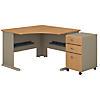 48W Corner Desk with Mobile File Cabinet