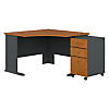 48W Corner Desk with Mobile File Cabinet