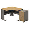 Corner Desk with 2 Drawer Mobile Ped
