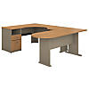 U Shaped Corner Desk with Peninsula and Storage