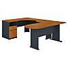 U Shaped Corner Desk with Peninsula and Storage