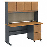 60W x 27D Desk with Hutch and 2 Drawer Mobile Pedestal