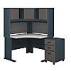 48W Corner Desk with Hutch and Mobile File Cabinet