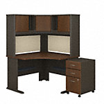 48W Corner Desk with Hutch and Mobile File Cabinet