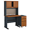 36W Desk with Hutch and Mobile File Cabinet