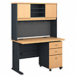 48W Desk with Hutch and Mobile File Cabinet