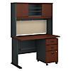 48W Desk, Hutch and 3 Drawer Mobile Pedestal