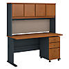 60W Desk, Hutch and 3 Drawer Mobile Pedestal
