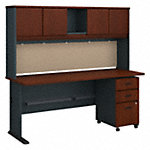 72W Desk with Hutch and Mobile File Cabinet