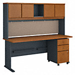 72W Desk, Hutch and 3 Drawer Mobile Pedestal