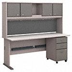 72W Desk, Hutch and 3 Drawer Mobile Pedestal