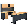 72W Desk and Hutch with 2 and 3 Drawer Mobile Pedestals