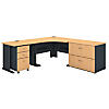 48W Corner Desk with 36W Desk and File Storage