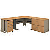 48W Corner Desk with 36W Return and File Cabinets
