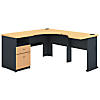 60W L Shaped Corner Desk, 2 Drawer Pedestal and 30W Bridge