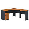 60W L Shaped Corner Desk, 2 Drawer Pedestal and 30W Bridge