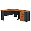60W Right Hand Bow Front Desk, 36W Desk and 3 Dwr Mobile Ped